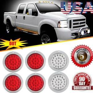 6pcs Trailer Truck Boat Red 24 Led Stop Turn Tail Brake Lights For Ford Jeep Gmc