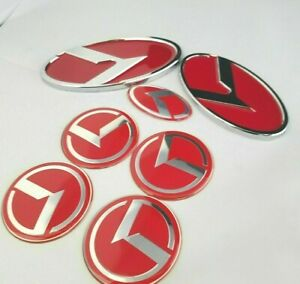 Red Kit Fit Kia Forte Cerato Optima Front Rear Trunk Emblem Steering Badge Decal
