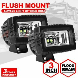 2x 3inch Cree Led Work Light Pods Flood Lamp Off Road Driving For Jeep Ford 12v