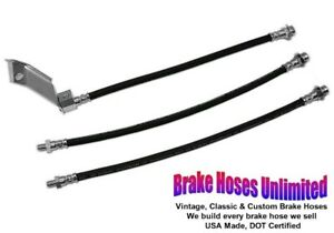 Brake Hose Set Ford Mustang 1965 1966 Front Disc With Dual Exhaust