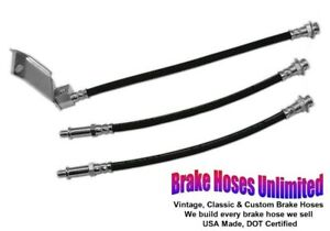 Brake Hose Set Ford Mustang 1965 1966 Front Drum With Dual Exhaust