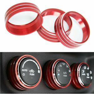 Car Air Conditioner Switch Decor Ring Cover Trim Parts Red For Jeep Wrangler Jl