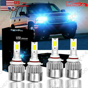 8000k Led Headlights Kit For Gmc Sierra 1500 2500 Hd Yukon 2000 2006 Hi low Beam