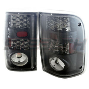 Fits 01 11 Ford Ranger Led Tail Lights Pair Glossy Black Housing Clear Lens