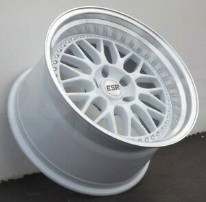 18 Inch Esr Sr01 White With Machined Lip 18x9 5 5x100 22 Wheels Set 4 Rims