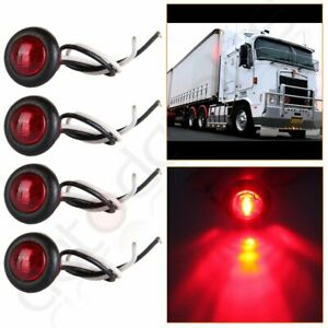 4x Red Round Led Side Marker Mini 1 Inch Light Truck Trailer Clearance