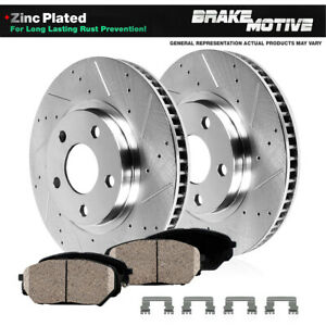 Front Drill Slot Brake Rotors Ceramic Pads For 2013 2014 Mustang Shelby Gt500