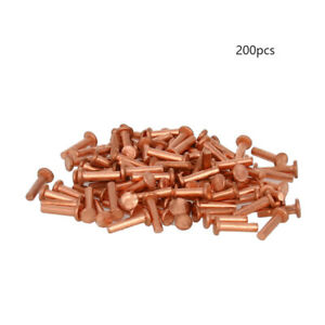 200pcs M2 Solid Copper Flat Head Rivets Screws Fasteners Length 6 To 8mm