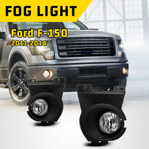 For 11 14 Ford F 150 Fog Light Assembly Bumper Lamp Clear Lens 1pair Replacement