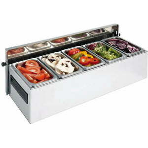 Matfer Bourgeat 5 Compartment Condiment Caddy Countertop Stainless Ste
