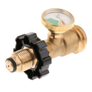 Propane Tank Brass Adapter With Pressure Gauge Master Lp Gas Grill Bbq