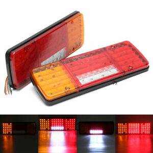 2x 12v 92 Led Tail Light Car Truck Trailer Stop Rear Reverse Turn Indicator Lamp
