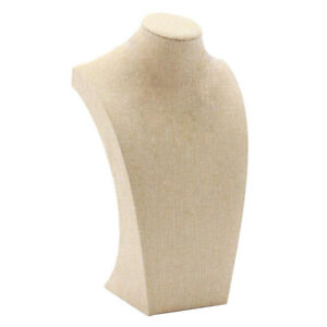 Necklace Display Bust Mannequin Jewelry Display Stand Holder Linen 12 20cm