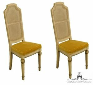 Stanley Furniture Set Of Two French Provincial Antique White Cane Back Dining