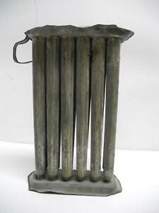 Antique Primitive Tin Metal 10 Tube Candle Mold With Handle 11 Tall