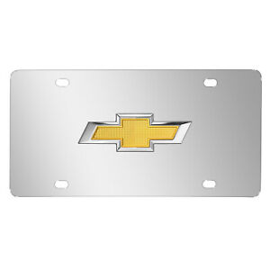 Chevrolet Gold Bowtie 3d Logo Mirror Chrome Stainless Steel License Plate