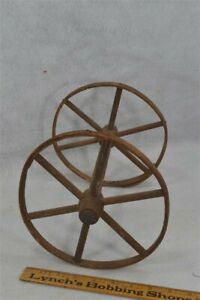 Antique Wheels Wood Spoke Rims Pr 8 In Carriage Wagon Toy Early 19th C
