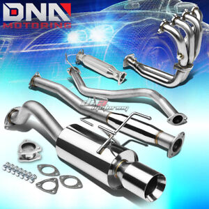 4 rolled Tip Racing Catback header pipe Full Exhaust System For 96 00 Civic 3dr