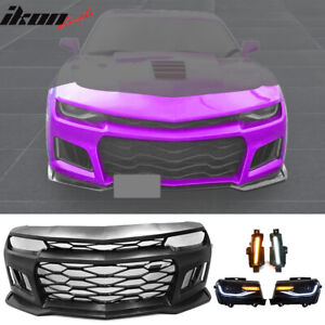Fits 14 15 Camaro 6th Gen 16 Zl1 Stye Bumper Conversion Led Drl Headlamps