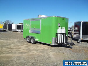 2019 7 X 16 Concession Vending Trailer New W Propane And Sinks Green Enclosed