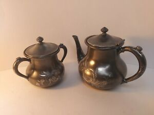 Vintage Forbes Silver Co Teapot And Sugar Bowl Set 151 Ornate Floral Etching