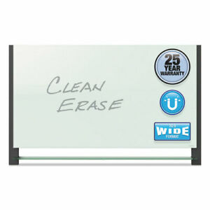 Quartet Evoque Magnetic Glass Marker Board With Black Aluminum Frame 74 X 42 W