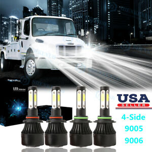 4side Led For Freightliner M2 100 106 112 6000k Headlight Hi lo Bulbs Combo Pkg
