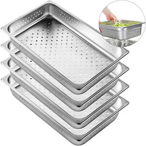 Perforated Steam Table Pan Hotel Full Size 2 5 deep Stainless Steel Pans 4 Pack