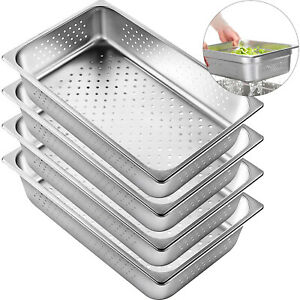 4x Perforated Steam Table Pans Full Size 4 Deep Bain marie Catering Food Warmer