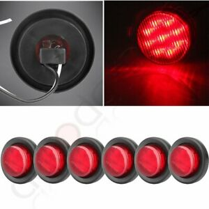 6x 2 Inch Red Clearance 9 Led Light Truck Trailer Mount Lamp Round Side Marker