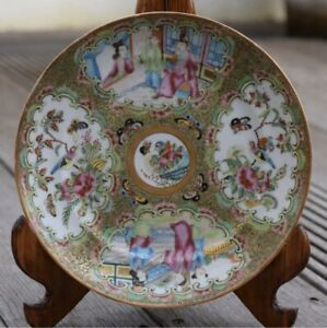 Antique Chinese Porcelain Plate Rose Medallion Canton Rose