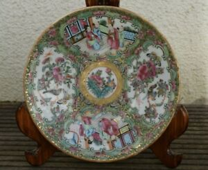 Antique Chinese Porcelain Plate Rose Medallion Canton