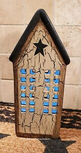 Primitive Crackle Tan Black Star Lighted Ceramic House Tall Country Decor