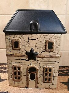 Primitive Crackle Tan Black Star Ceramic House Canister Small Country Decor