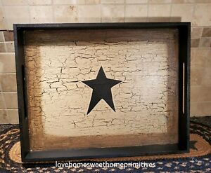 New Primitive Crackle Tan Black Star Wood Tray Country Decor