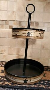 New Primitive Crackle Tan Black Star Metal 2 Tier Tray Country Decor
