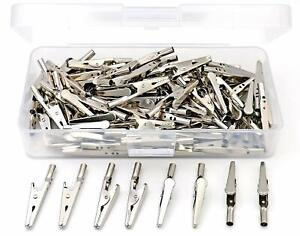 100 Pcs Steel Alligator Clips Crocodile Clamps silver Tone Nickel Plated 2 51mm