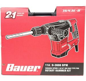 Bauer Rotary Hammer Drill 64425 Sds Max type Pro Variable Speed 11a 25618 1