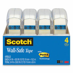 Scotch Wall safe Tape With Dispenser 1 Core 0 75 X 54 17 Ft Clear