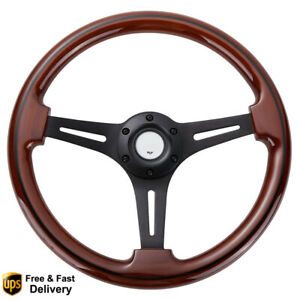 14 Matte Black Wooden Steering Wheel 2 Deep 3 Spoke Walnut Wood Grain 6 Bolt
