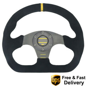 325mm Universal Rally Race Flat Drift Black Steering Wheel Sport Suede Leather