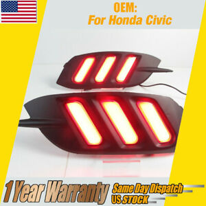 For Honda Civic 4 Door Sedan 2016 2019 Led Tail Bumper Lamp Rear Fog Light 2pcs