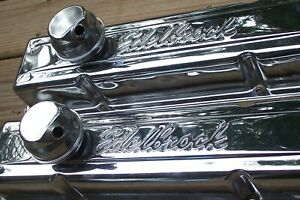 New Edelbrock Chrome Baffled Valve Covers W Breathers Small Block Chevy