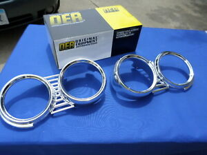 New 1961 Chevrolet Impala Belair Biscayne Headlamp Bezel Pair Oer Gm Licensed