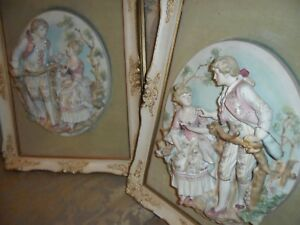 Pair Of Antique German Bisque Victorian Porcelain Figurines Wall Plaque