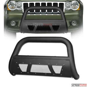 For 08 10 Jeep Grand Cherokee Matte Blk Studded Mesh Bull Bar Grill Grille Guard