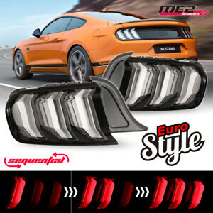 Fits 15 20 Ford Mustang Black Clear Pair Led Sequential Turn Signal Tail Lights
