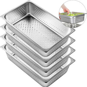 Perforated Steam Table Pan Hotel Full Size 6 deep Stainless Steel Pans 4 Pack