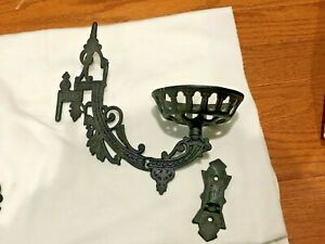 Ornate Vintage Antique Metal Oil Lamp Swing Arm Candle Holder Wall Sconce