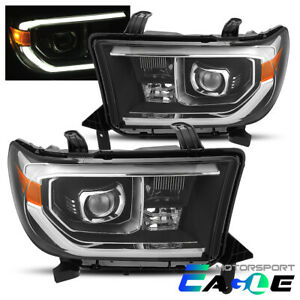 For Toyota 07 13 Tundra 08 17 Sequoia Black Led Tube Projector Headlights Pair